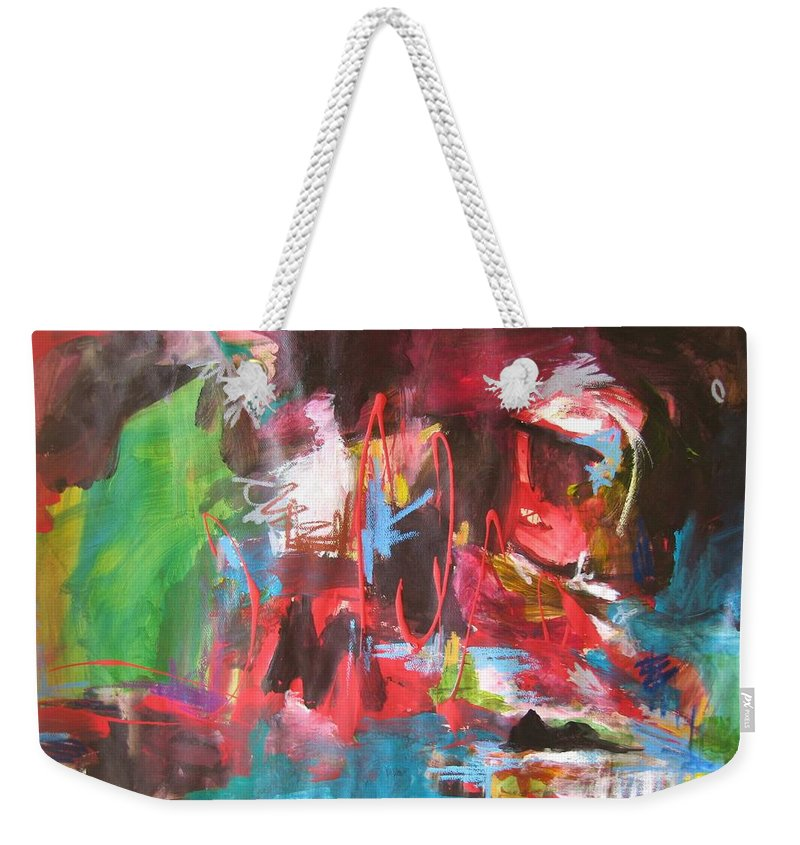 Abstract Weekender Tote Bag featuring the painting The Ha Ha by Seon-Jeong Kim