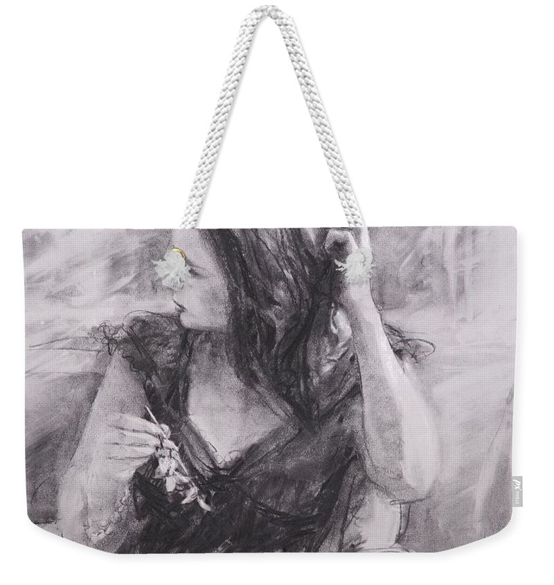 Woman Weekender Tote Bag featuring the painting The Hairpin by Steve Henderson