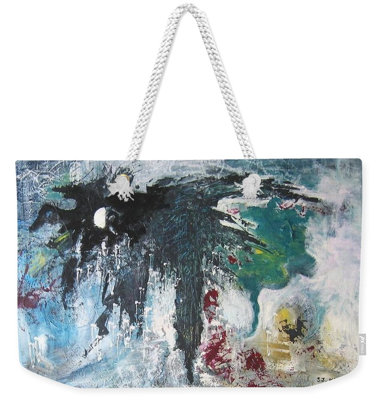 Abstract Paintings Weekender Tote Bag featuring the painting The Half Moon by Seon-Jeong Kim