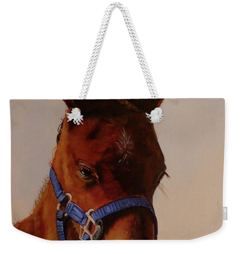 Judy Bradley Weekender Tote Bag featuring the painting The Halter by Judy Bradley