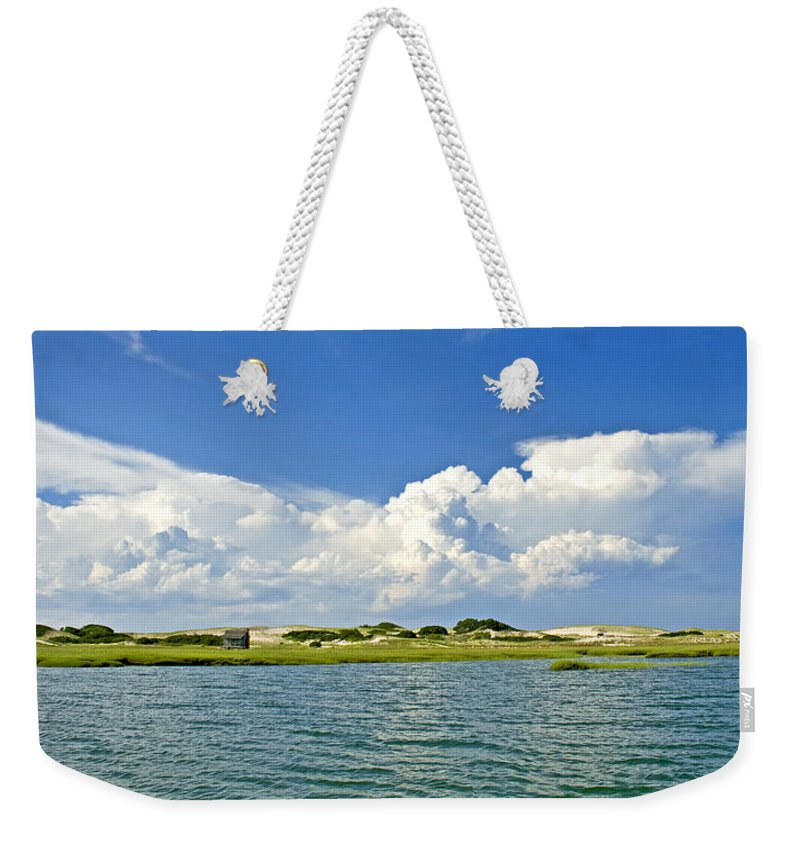 Sandy Neck Weekender Tote Bag featuring the photograph The Handys Camp On Sandy Neck by Charles Harden