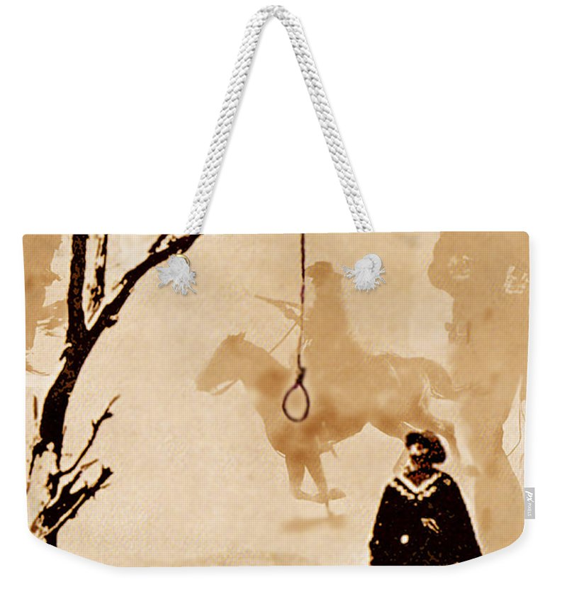 Clint Eastwood Weekender Tote Bag featuring the digital art The Hangman's Tree by Seth Weaver