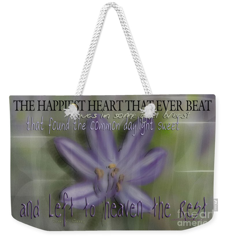 Purple Weekender Tote Bag featuring the photograph The Happiest Heart That Ever Beat by Vicki Ferrari