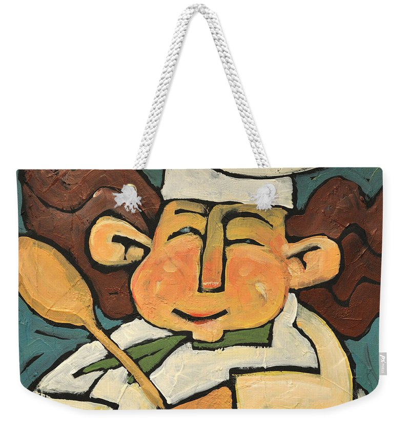 Chef Weekender Tote Bag featuring the painting The Happy Chef by Tim Nyberg