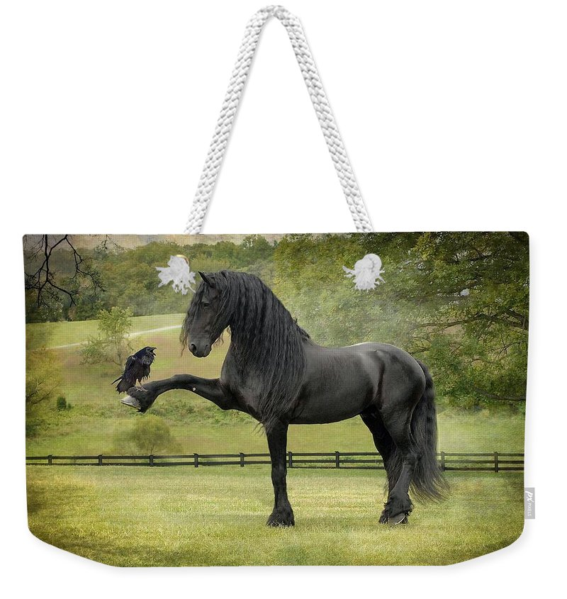 Friesian Horses Weekender Tote Bag featuring the photograph The Harbinger by Fran J Scott