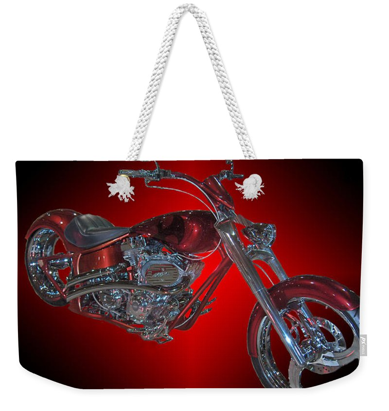 Harley Davidson Motorbike Chopper Bike Red Chrome Weekender Tote Bag featuring the photograph The Harley by Andrea Lawrence