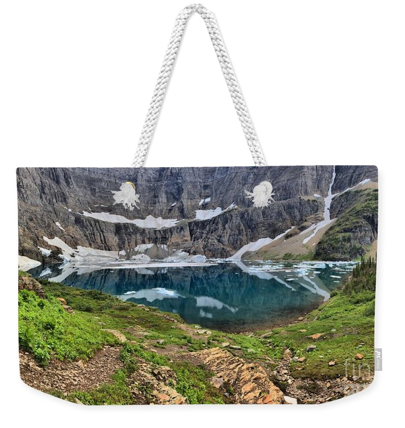 Iceberg Lake Panorama Weekender Tote Bag featuring the photograph The Heart Of Many Glacier by Adam Jewell