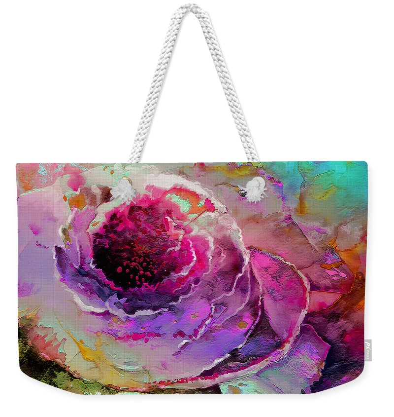 Flowers Weekender Tote Bag featuring the painting The Heart Of Nature by Miki De Goodaboom