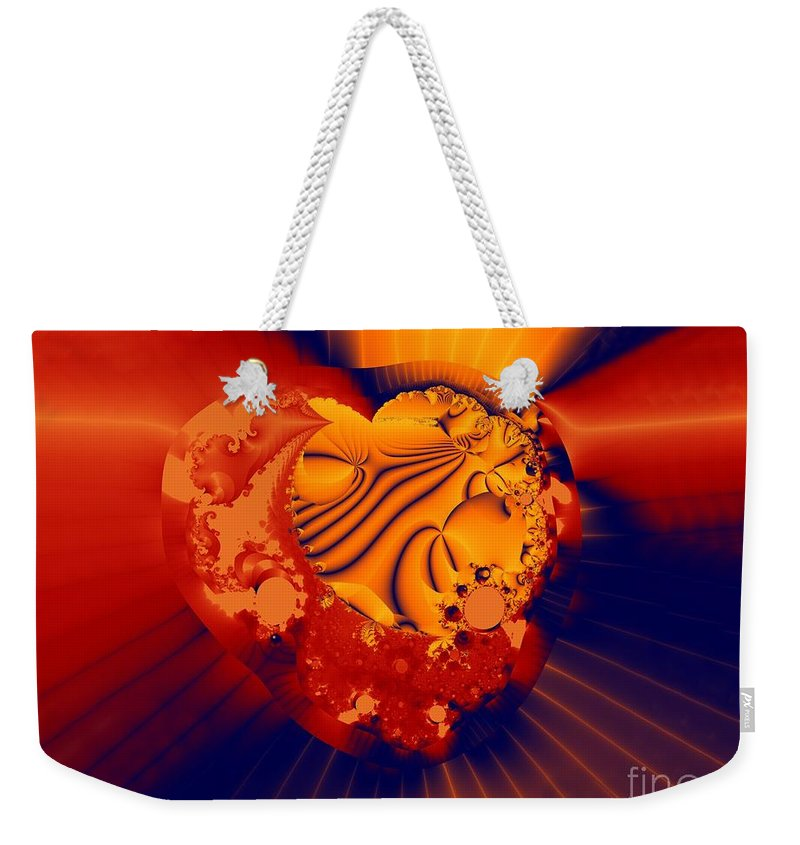 Fractal Art Weekender Tote Bag featuring the digital art The Heart Of The Matter by Ron Bissett