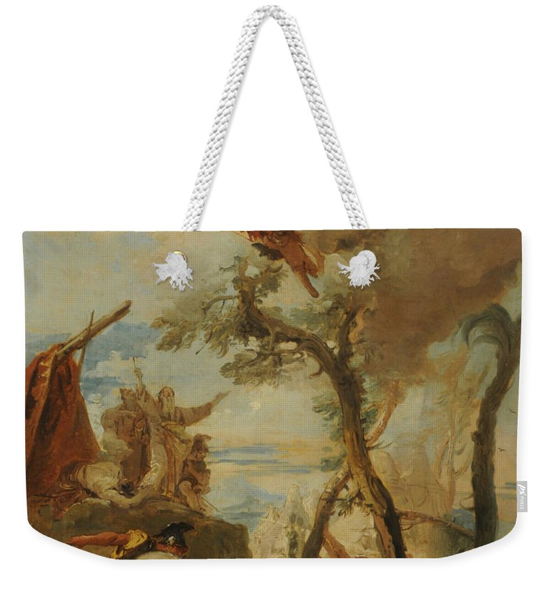 Italian Artist Weekender Tote Bag featuring the painting The Hebrews Gathering Manna In The Desert by Giovanni Battista Tiepolo