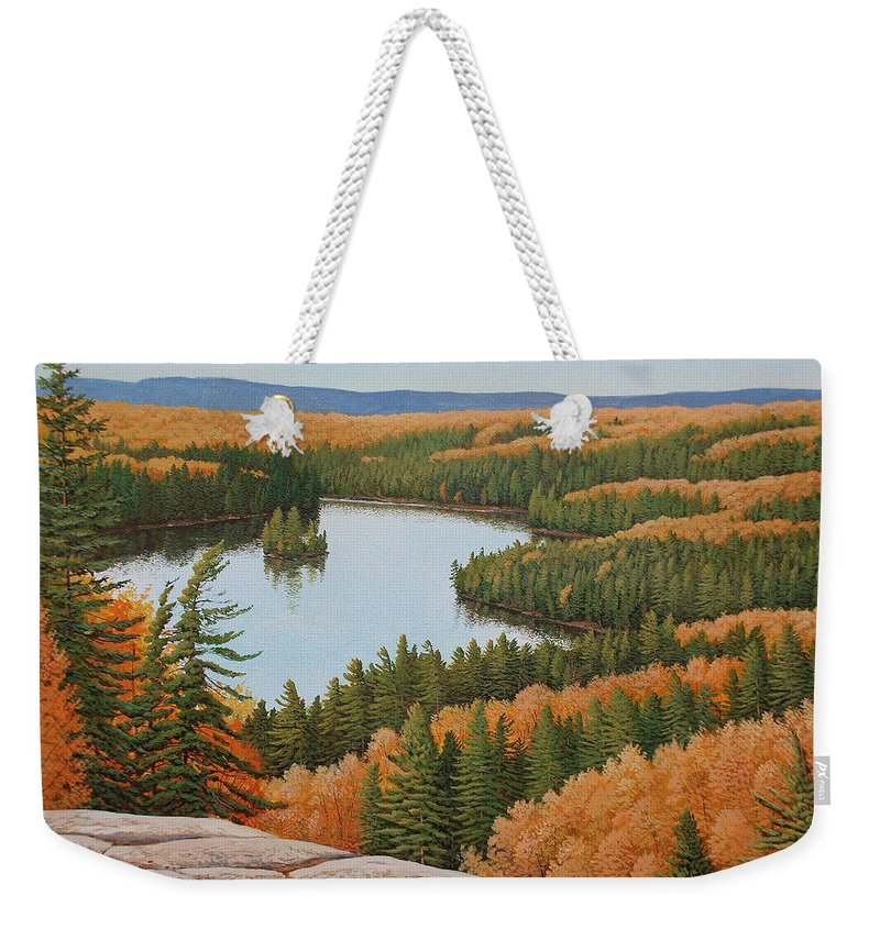 Landscape Weekender Tote Bag featuring the painting The Height Of Autumn by Jake Vandenbrink