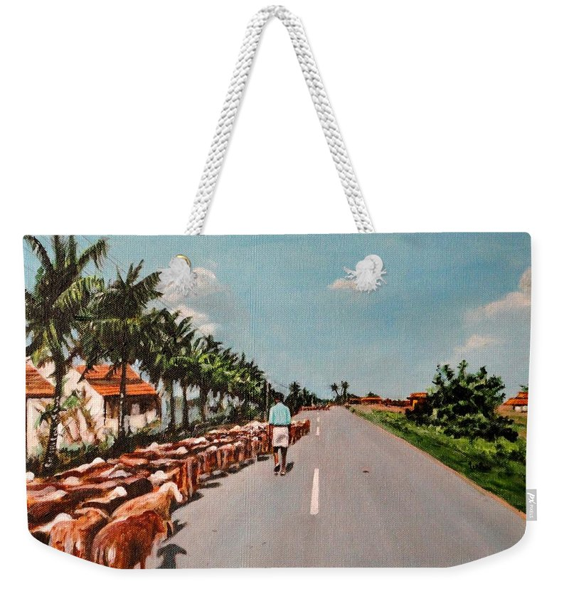 The Weekender Tote Bag featuring the painting The Herd 3 by Usha Shantharam