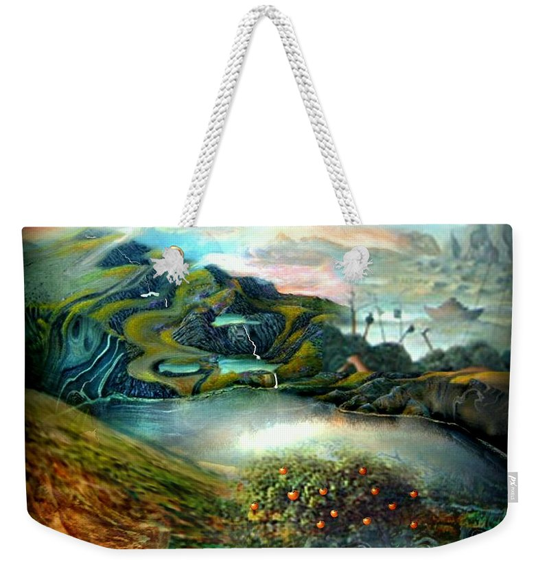 Landscape Weekender Tote Bag featuring the digital art The Highkingdom Of Loch Lein Aka Hesperidean Avalon by Tighe O'DonoghueRoss