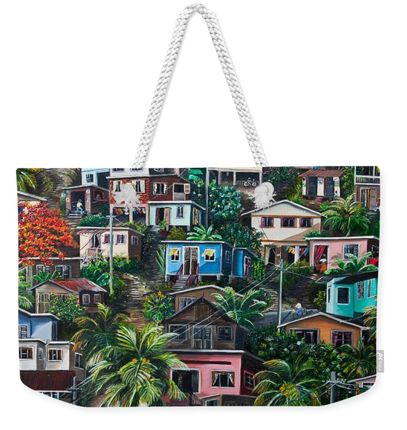 Landscape Painting Cityscape Painting Houses Painting Hill Painting Lavantille Port Of Spain Painting Trinidad And Tobago Painting Caribbean Painting Tropical Painting Caribbean Painting Original Painting Greeting Card Painting Weekender Tote Bag featuring the painting The Hill   Trinidad by Karin Dawn Kelshall- Best