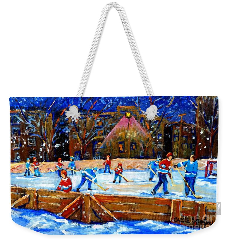 Snow Weekender Tote Bag featuring the painting The Hockey Rink by Carole Spandau