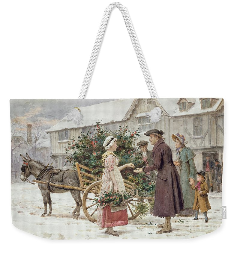 Christmas; Winter; Snow; Buying; Selling; Donkey Weekender Tote Bag featuring the painting The Holly Cart by George Goodwin Kilburne