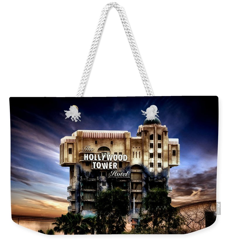 Hollywood Tower Hotel Disneyland Weekender Tote Bag featuring the mixed media The Hollywood Tower Hotel Disneyland Pa 02 by Thomas Woolworth