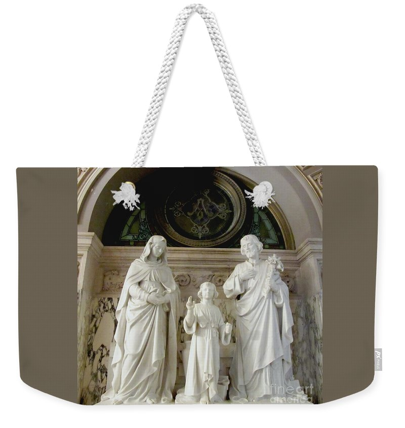 Our Lady Of Victory Basilica Weekender Tote Bag featuring the photograph The Holy Family by Elizabeth Duggan