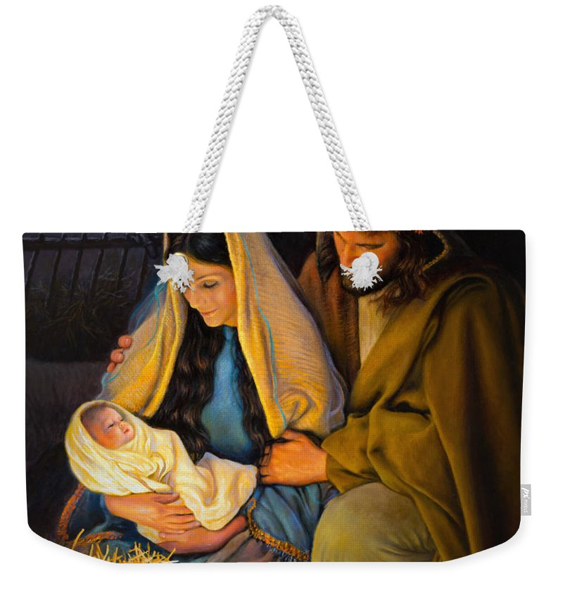 Jesus Weekender Tote Bag featuring the painting The Holy Family by Greg Olsen