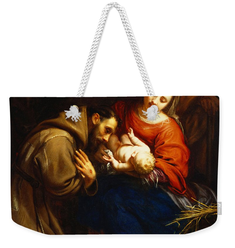 Holy Weekender Tote Bag featuring the painting The Holy Family with Saint Francis by Jacob van Oost