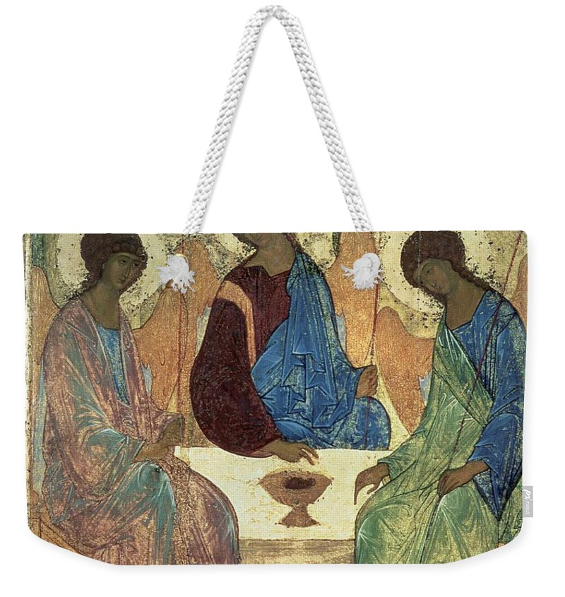 The Holy Trinity Weekender Tote Bag featuring the painting The Holy Trinity by Andrei Rublev