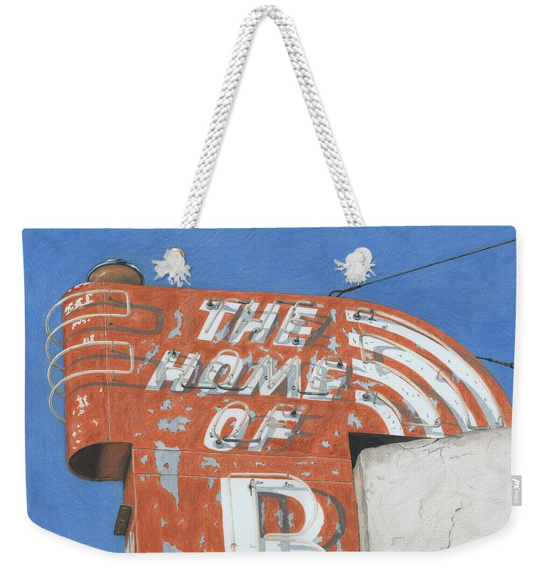 Neon Sign Weekender Tote Bag featuring the drawing The Home Of R by Rob De Vries