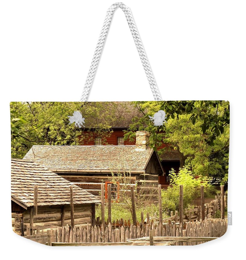 Log Cabins Weekender Tote Bag featuring the photograph The Homestead by Ian MacDonald