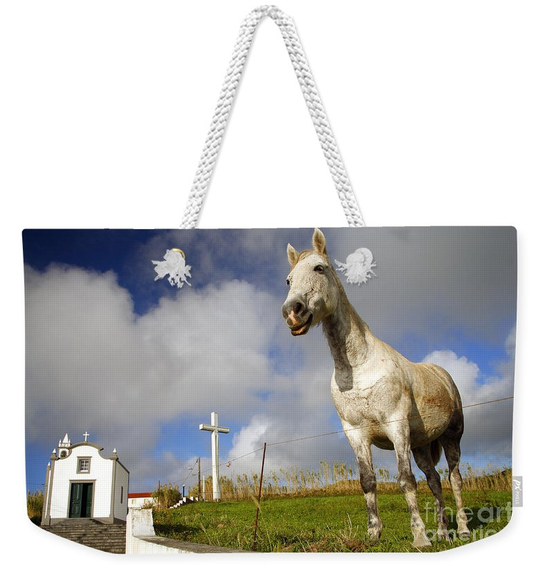 Portugal Weekender Tote Bag featuring the photograph The Horse And The Chapel by Gaspar Avila