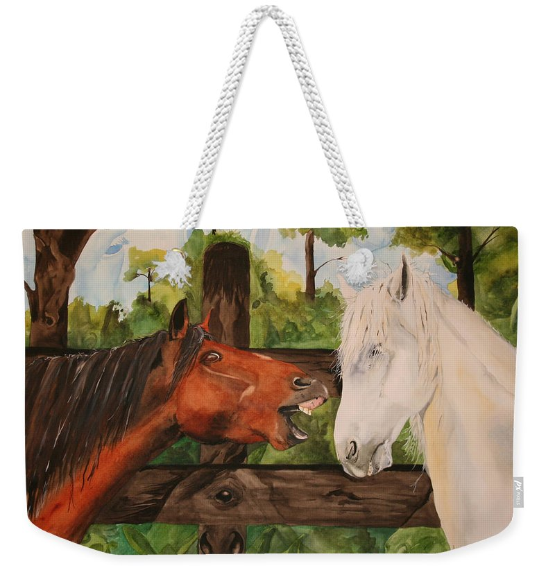 Horse Weekender Tote Bag featuring the painting The Horse Whisperers by Jean Blackmer