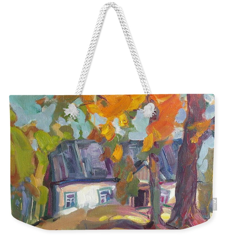 Oil Weekender Tote Bag featuring the painting The House In Chervonka Village by Sergey Ignatenko
