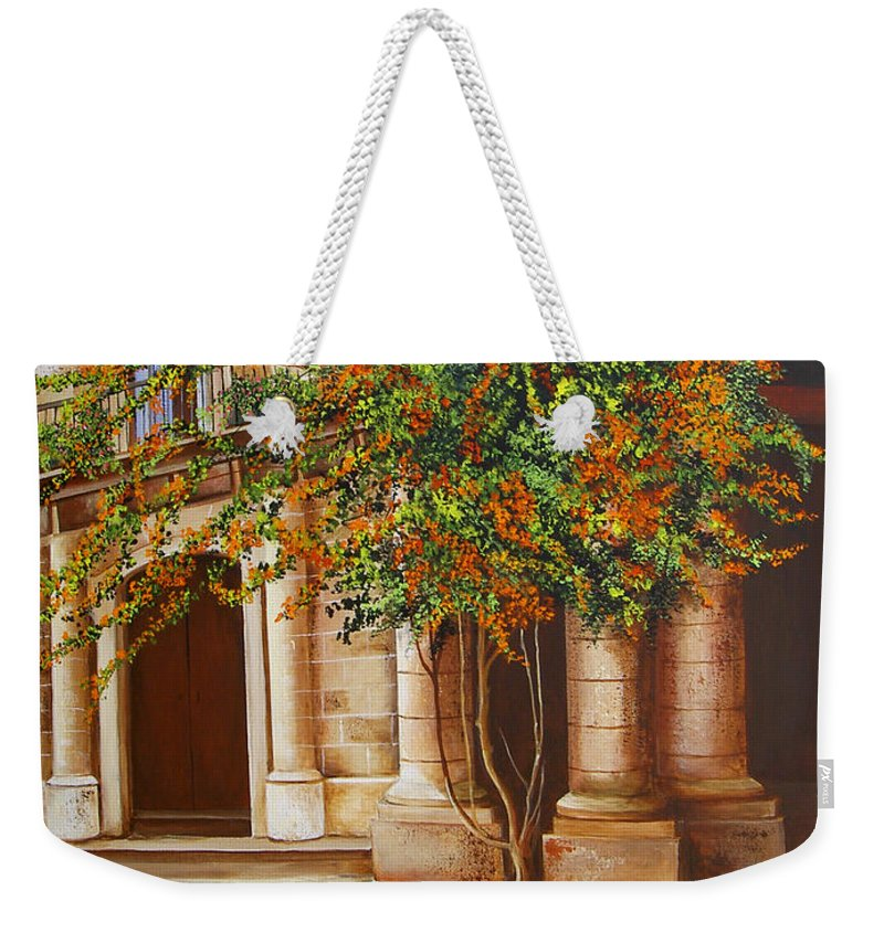 Cuban Painter Weekender Tote Bag featuring the painting The House Of The Marquis Of Clear Water by Dominica Alcantara