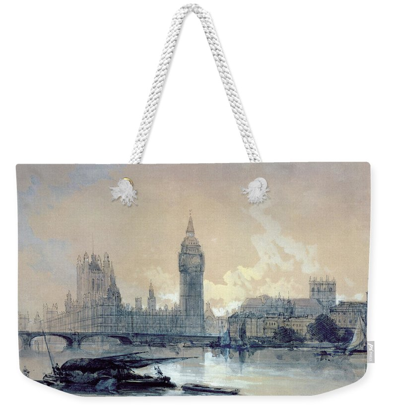 The Weekender Tote Bag featuring the painting The Houses Of Parliament by David Roberts
