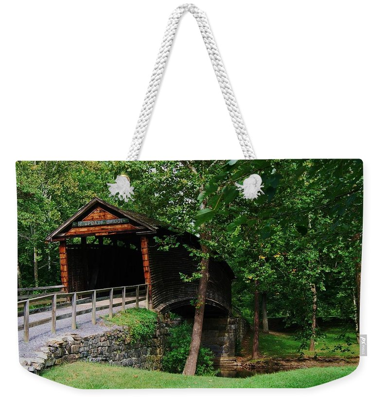 Covered Bridge Weekender Tote Bag featuring the photograph The Humpback Bridge by Eric Liller