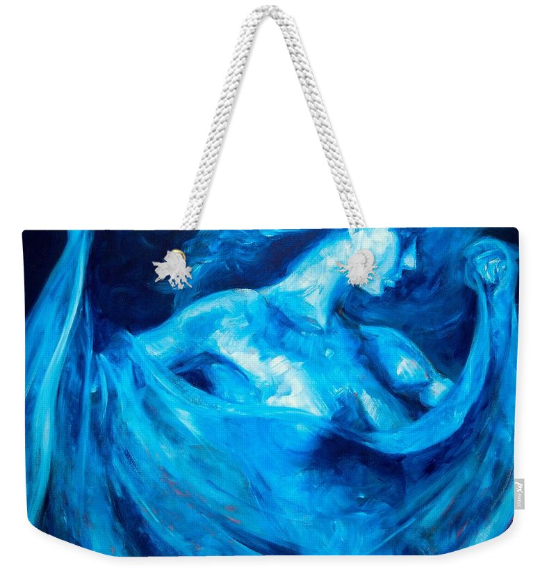 Nude Weekender Tote Bag featuring the painting The Huntress by Jason Reinhardt
