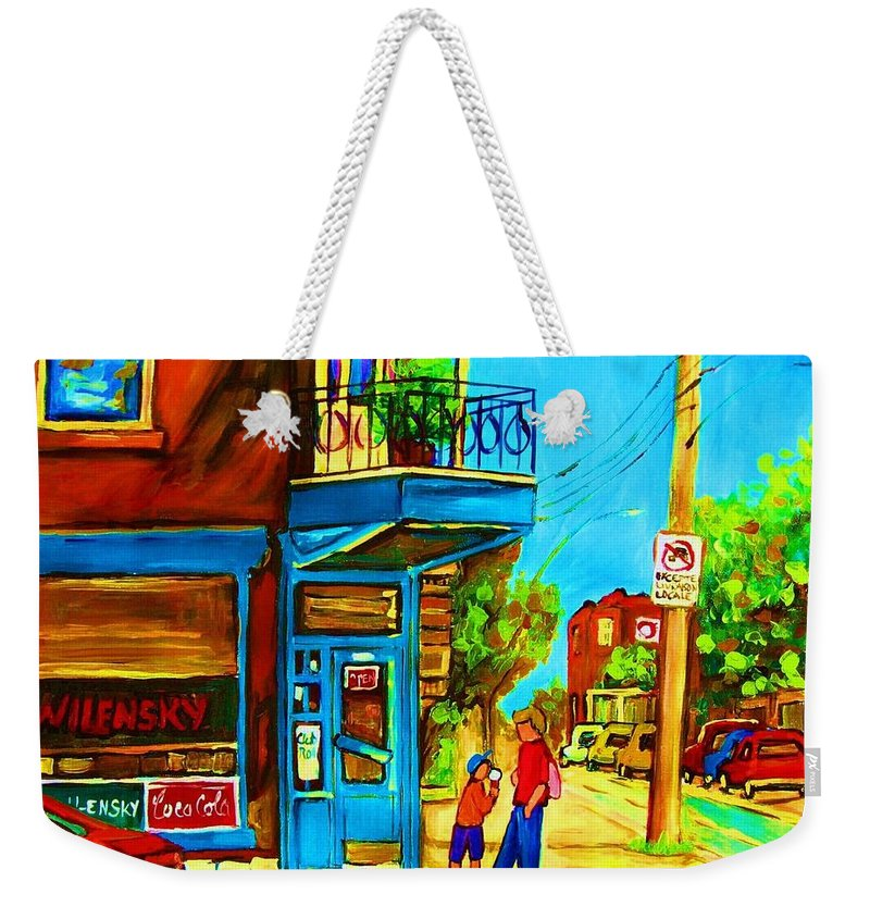 Wilenskys Deli Weekender Tote Bag featuring the painting The Icecream Cone by Carole Spandau