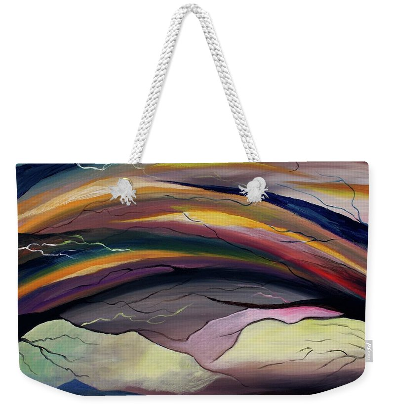 Time Weekender Tote Bag featuring the painting The Illusion Of Time by Angel Reyes