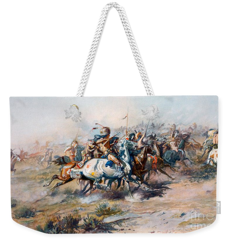 Little Bighorn Weekender Tote Bag featuring the painting The Indian Encirclement Of General Custer At The Battle Of The Little Big Horn by Charles Marion Russell