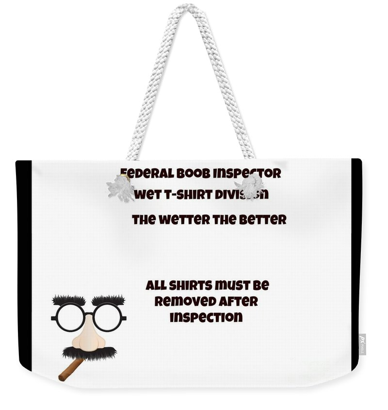 Funny Weekender Tote Bag featuring the digital art The Inspector by Darrin Ingram
