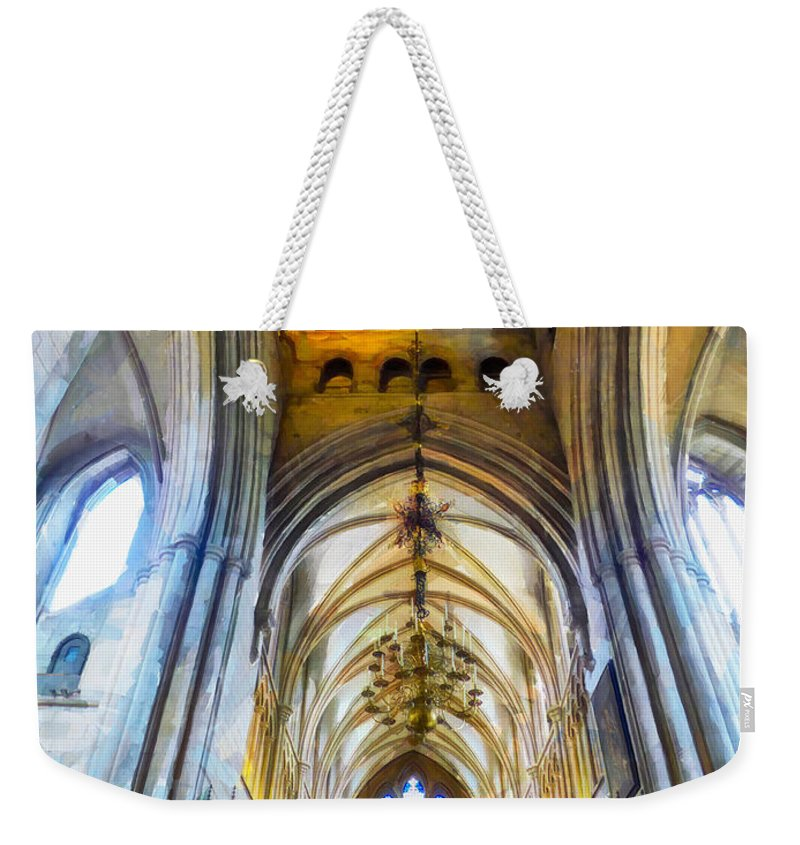 Arch Weekender Tote Bag featuring the photograph The Interior Of The Southwark Cathedral by Steve Taylor