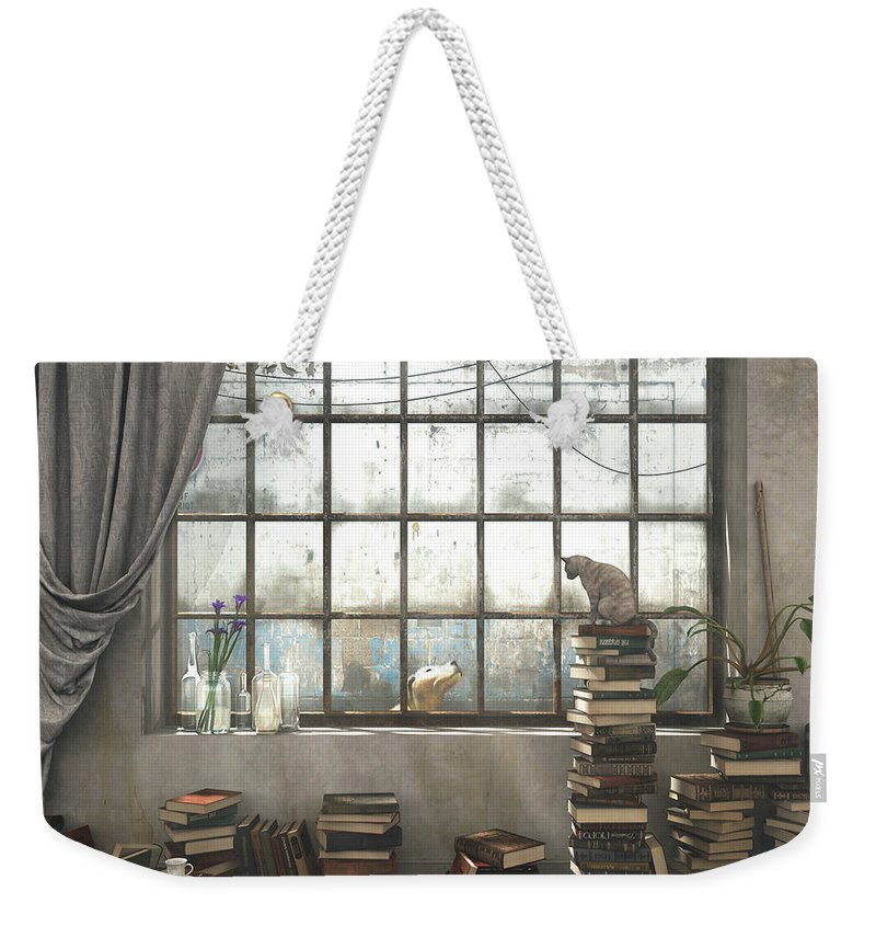 Books Weekender Tote Bag featuring the digital art The Introvert by Cynthia Decker