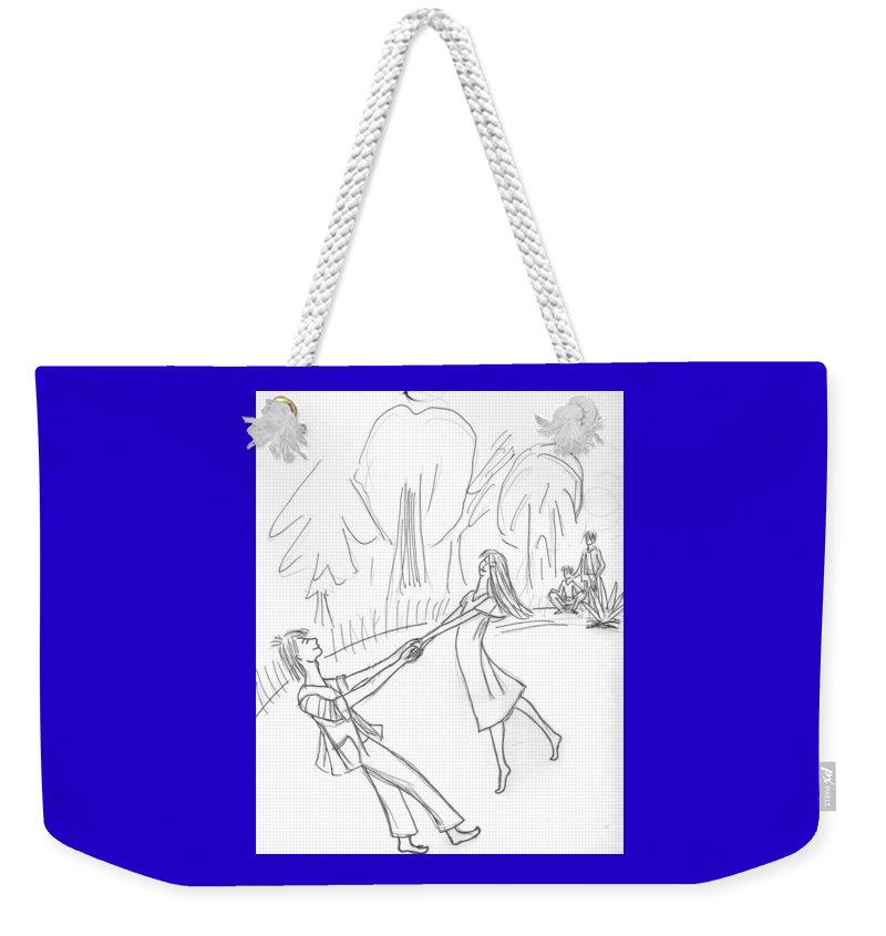 Weekender Tote Bag featuring the drawing The Irish Dance. by Yulia Shuster