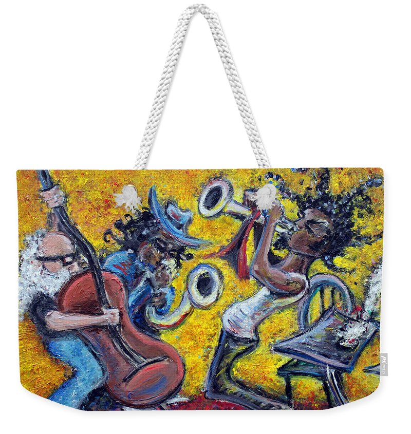 Jazz Music Art Black Musician Weekender Tote Bag featuring the painting The Jazz Trio by Jason Gluskin