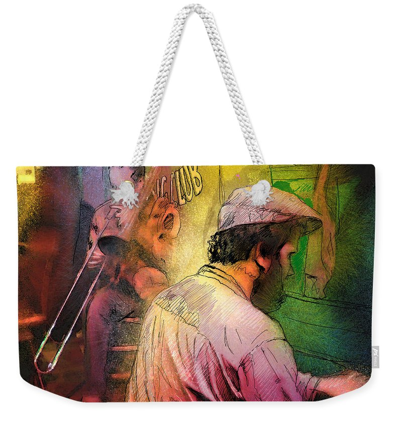Jazz Weekender Tote Bag featuring the painting The Jazz Vipers In New Orleans 01 by Miki De Goodaboom