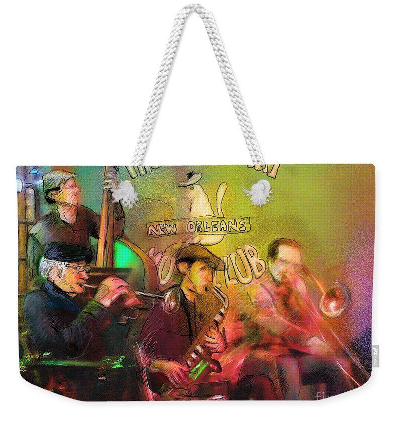 Jazz Weekender Tote Bag featuring the painting The Jazz Vipers In New Orleans 02 by Miki De Goodaboom