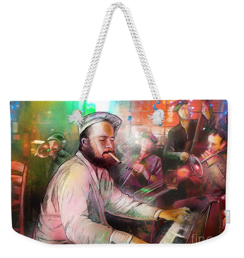 Jazz Weekender Tote Bag featuring the painting The Jazz Vipers In New Orleans 04 by Miki De Goodaboom