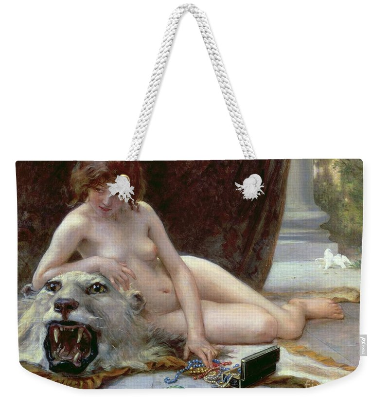 Nude Weekender Tote Bag featuring the painting The Jewel Case by Guillaume Seignac