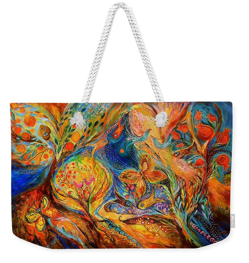 Original Weekender Tote Bag featuring the painting The Jordan River by Elena Kotliarker