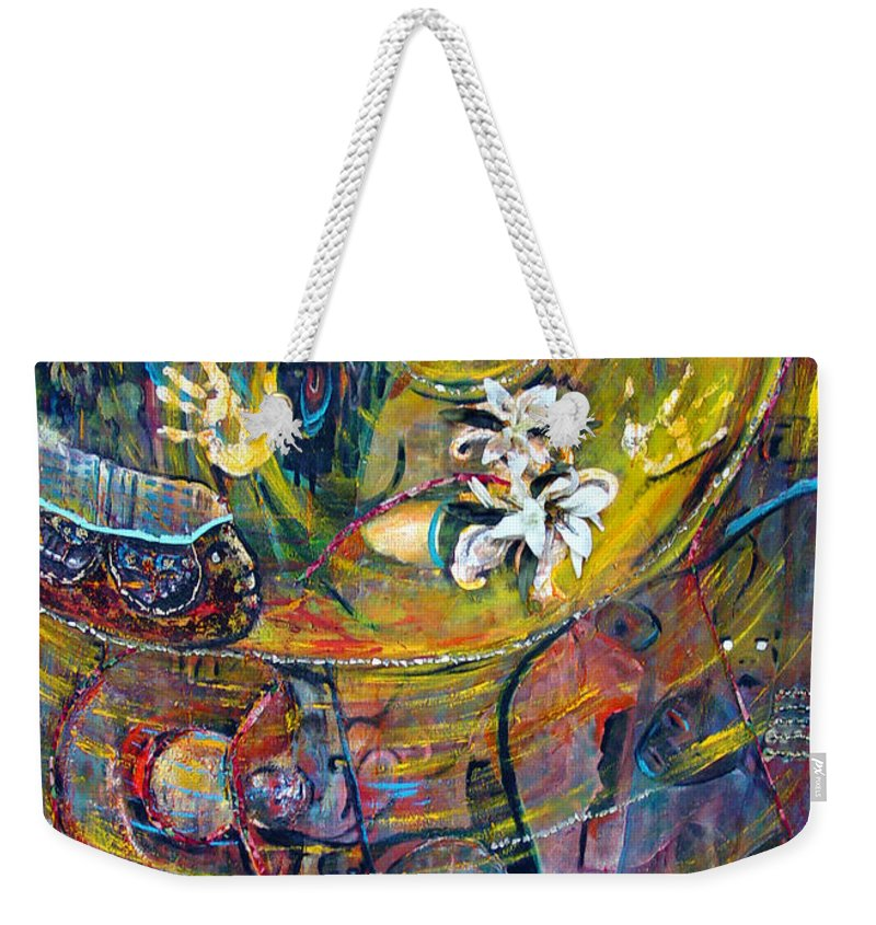 Figures Weekender Tote Bag featuring the painting The Journey by Peggy Blood