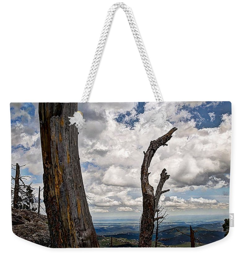 Mountain Weekender Tote Bag featuring the photograph The Journey To Harney Peak by Deborah Klubertanz