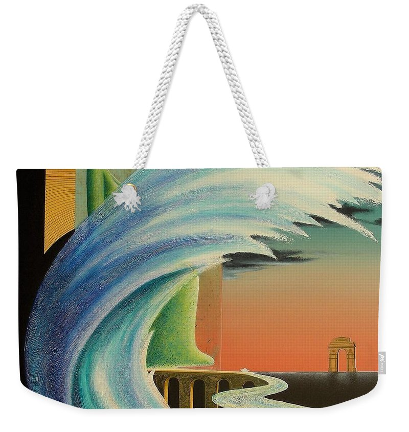 Romantic Weekender Tote Bag featuring the painting The Journy-17 by Raju Bose